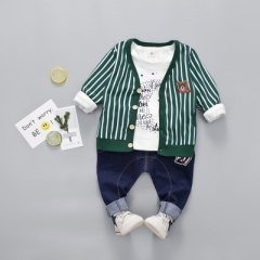 Boys striped Suits 3pcs Sets Gentlemen Clothing Coat+Long Pants +Long-Sleeve T Shirts kids Clothes green 80cm