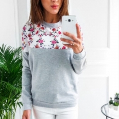 Spring Floral Print Hoodies Women Pullovers Harajuku Jumper Thin Sweatshirt Tops Casual O-Neck top grey s