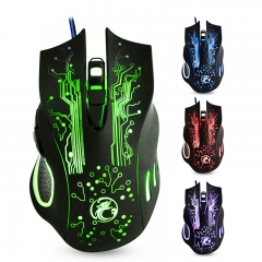 5000dpi Professional USB Mouse Mice Changeable LED Light 6 Buttons Computer Optical Mouse For Gamer black wired