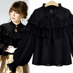 2018 Elegant ruffles blouse shirt women tops Long sleeve cool blouse Casual chemise femme blusas black xl