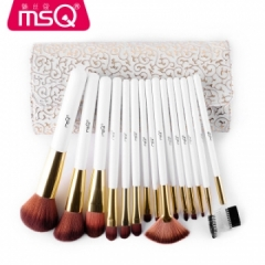 15Pcs Set Pro High Quality Make Up Brushes Kits With PU Leather Case Cosmetics Beauty Tools Brush as picture