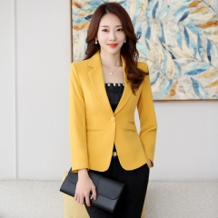 2018 Hot Blazer Straight and Smooth Jacket Office Lady Style Coat Business Formal Wear Candy Color yellow s