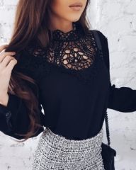 2018 Hot Summer Womens Tops and Blouses Casual Lace Patchwork Tops Long Sleeve Chiffon Shirts black s