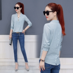 Women Chiffon Blouse Ladies Work Wear Office Shirts V-neck Long Sleeve Ladies Tops Striped Blusa sky blue s