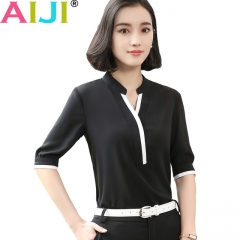 V-neck half short sleeve elegant shirt women OL Formal Business chiffon blouse office ladies tops black s