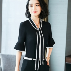 Chiffon shirt summer formal business half short sleeve blouse ladies casual loose bow office tops black s