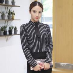 Blouse OL elegant stripe bow tie turn-down collar Formal chiffon shirts ladies office work wear tops black s