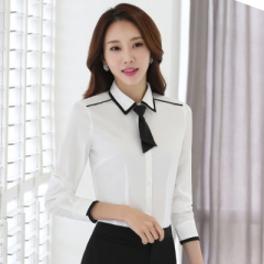 Women formal clothing long sleeve shirts OL elegant bow tie chiffon blouse office ladies work wear white s