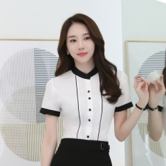 2018 elegant blouse women short sleeve shirt OL stand collar chiffon tops ladies office work wear white s