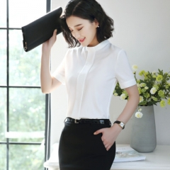 Elegant women short sleeve shirt OL stand collar chiffon blouse tops ladies loose office work wear white s