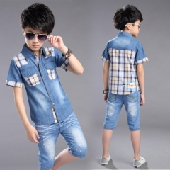 Boys Clothing Boys Clothes Set Shirt +Denim Shorts 2pcs Kids Clothes Set Turn-down Collar Boys Suit white 120cm