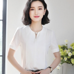 Summer elegant women short sleeve shirt OL o-neck chiffon blouse tops ladies loose office work wear white s