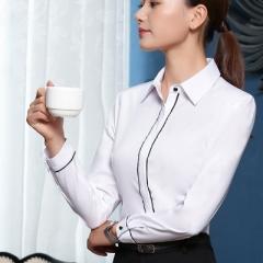Hot long sleeve blouse turn-down collar formal elegant ladies female shirt tops work office blouse white s