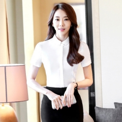 2018 Collar work shirts women clothes OL summer formal slim short Sleeve chiffon office blouse white s