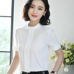 2018 Summer fashion Sexy o-neck shirt women OL Career temperament formal short sleeve chiffon blouse white s
