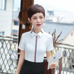 Women cotton shirt summer formal elegant patchwork short sleeve blouse office ladies work wear top white s