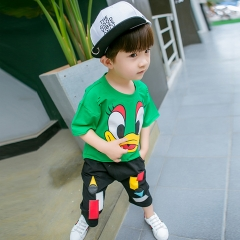 2018 Hot Toddler Boy Summer Children's Clothing Cartoon T-shirt + Pants 2pc Suit Kids Outfits green 90cm