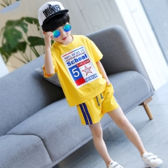2018 Hot Toddler Boy Summer Clothes Kids Baby Boys T-shirts + Shorts Pants 2 Pcs Baby Boy Clothes yellow 110cm
