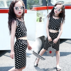 2018 Girls Boutique Outfits Dot Sleeveless T-shirt + Slit Skirts Girls Clothing Kids Summer Clothes black 110cm