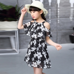 Chiffon Princess Girls Dress New Spring Summer Dress Children's Clothing Fashion Princes Girl Dress black 110cm