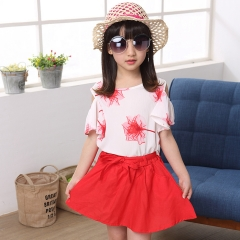2018 Girl Summer Clothes Children Clothing Sets Summer Girls Sport Suit Fashion Girls Clothes Sets red 110cm