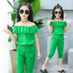 Children Clothing Sets For Girls Ruffle Off Shoulder T-Shirts + Pants Girl Summer Children Clothing green 110cm