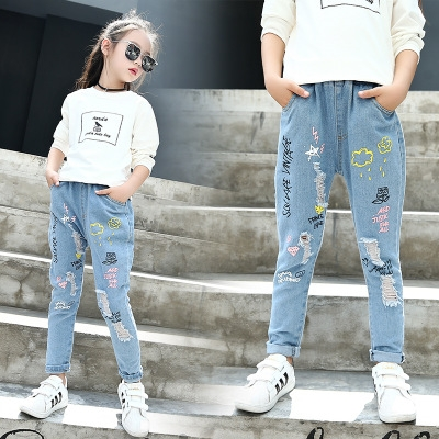 4cb6b50811f Children s Clothes Girls Jeans Tee Causal Cartoon Denim Jeans for Big Girls  Kids Jean Long Trousers blue 110cm  Product No  358718. Item specifics   Brand