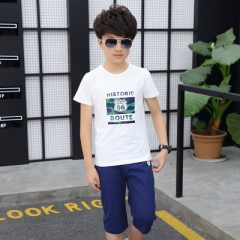 2018 Summer Boys Clothes 10 Years Short Sleeve T shirt +Shorts Boys Clothing Sets Sport Suit white 110cm