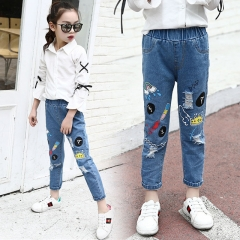 Girls Jeans Denim Trousers For Kids Children Hole Pants Girls Casual Wear Boy Ripped Elastic Waist blue 110cm