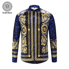 2018 Fashion 3D printed shirt Long sleeve Men's shirts Random patchwork Print Casual Shirt blue m