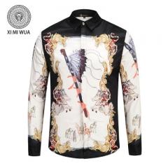 2018 Fashion 3D printed shirt Long sleeve Men's shirts Random patchwork Print Casual Shirt white m