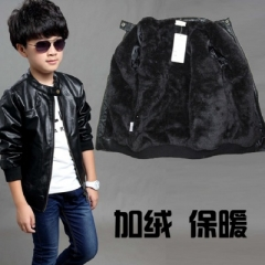Children Coat Winter Thick Velvet Kids PU Leather Jacket Solid Children's Warm Clothes Outwears black 110cm
