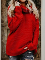 2018 Hot Sweater ladies korea lace up knitted women sweaters and pullovers loose winter sweater red s