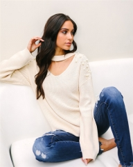 2018 Hot Sweater ladies korea lace up knitted women sweaters and pullovers loose winter sweater beige s