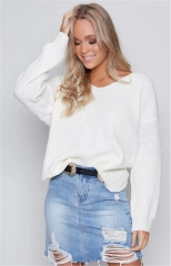 2018 Hot Sweater ladies korea lace up knitted women sweaters and pullovers loose winter sweater white s