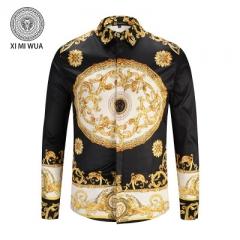 2018 Fashion 3D printed shirt Long sleeve Men's shirts Random patchwork Print Casual Shirt black m