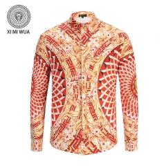 2018 Fashion 3D printed shirt Long sleeve Men's shirts Random patchwork Print Casual Shirt red m