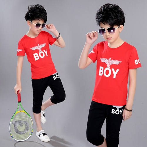 e8859eed5d15 Sport Suits Teenage Summer Boys Clothing Sets Short Sleeve T Shirt   Pants  Casual Child Boy Clothes red 170cm  Product No  362406. Item specifics   Brand
