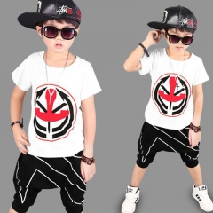 2018 Summer Boys Clothing Set Kids Clothes Casual T Shirt+Short Pants Tracksuits Kids Teens Clothes white s