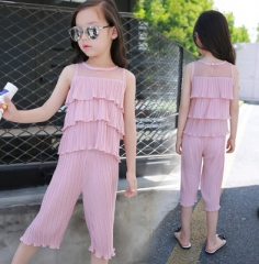 2018 Summer Girls Clothes Sets Children's Clothing Solid Girls Shirts + Pants Children Clothing Sets pink 110cm