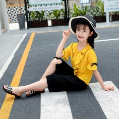 Girl Summer Clothes Girls Boutique Outfits Solid Top T-shirts + Black Shorts Pants Girls Clothes Set yellow 110cm