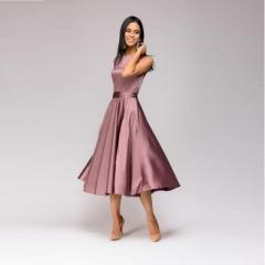 Vintage style knee-length dress sleeveless elegant A-line vestidos with belt party short dress purple s