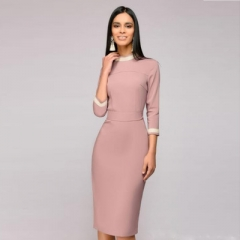 Womens Sexy O-neck Lace Patchwork Dress Three Quarter Sleeve Elegant Work Casual Party Slim Dress pink s