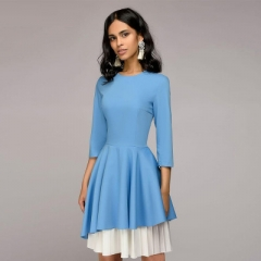 2018 Hot Spring Autumn Vintage Three Quarter Sleeve Dress O-Neck Irregular Patchwork Party Dresses blue s