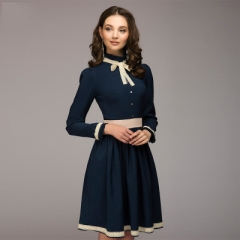 Hot Vintage A-line dress hot sale solid lace patchwork knee length vestidos for female women dark blue s