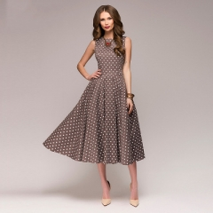Vintage sleeveless O-neck vestidos Women elegant thin dot printing Mid-Calf casual dress Female brown s