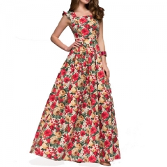 Women printing party dress sleeveless square collar sexy long vestidos Women Elegant pleated dress red s