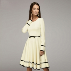 Women simple A-line dress O-neck long sleeve knee-length dress Elegnat women casual solid vestidos beige s
