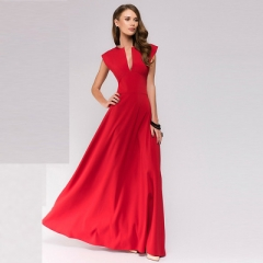 Women party long dress Popular sleeveless vestidos Elegant women deep V-neck sexy nightclub dress red s
