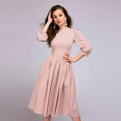 Elegant women A-line dress dot printing draped long dress with belt Women casual spring vestidos pink s